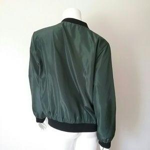 Jackets & Coats - Army Green Nylon Bomber Jacket